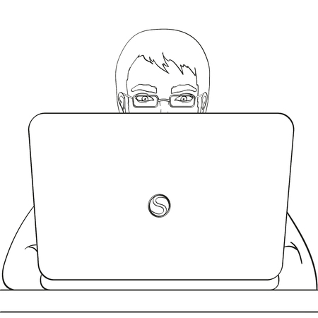 A male programmer works for laptops. IT staff at the computer. Illustration, object on white background. Coloring book Reklamní fotografie