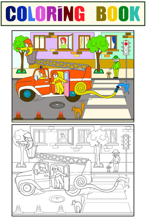 Fire engine is driving around the city. Nursery tale, cartoon, coloring black lines on a blank background. Raster illustration