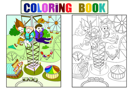 Tower ride, tallest amusement attraction. Childrens color book about an amusement park, cartoon black lines on a white background. Coloring, black and white