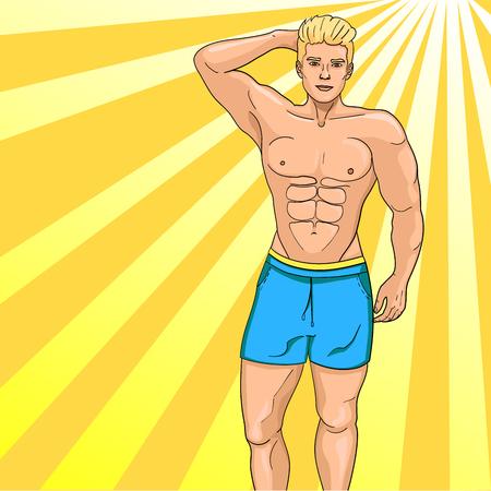 Man sex symbol on the beach. Pop art raster illustration. Imitation comic style