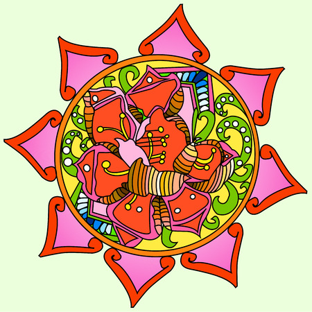 Mandala flower decoration, hand drawn round ornament raster