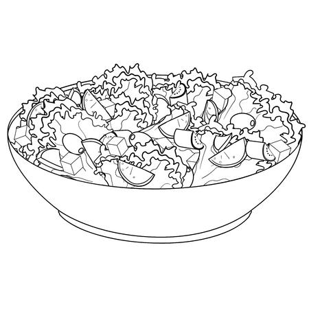 Greek salad or Horiatiki salad. Proper nutrition. Food raster object coloring book