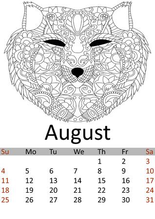 Calendar august month 2019. Antistress coloring fox head, wolf. Wild animal patterns. Vector Ilustração