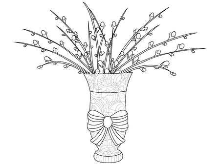Fluffy pussy willow bouquets. An arrangement in the vase. Anti stress coloring, raster illustration