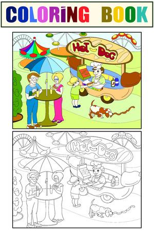 Amusement park color pages for children. Hot dog. Food Truck raster illustration. Color, black and white