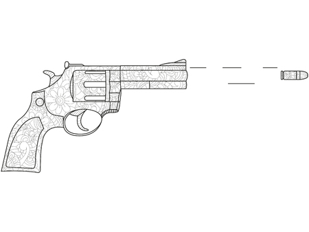 Coloring for adults. The revolver shoots, the bullet flies. Patterns, chaotic, black lines, white background. Raster illustration of a weapon of the wild west Stock Photo