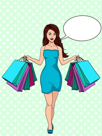 Compulsive buying disorder, or oniomania. Girl with shopping. I bought a lot of clothes. Gift bags. Fashion illustration. Pop art raster. Imitation of a comic strip. Text bubble.