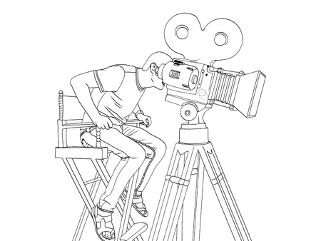 Stage director on set pop art retro vector. children coloring, black lines. videographer and camera on the legs