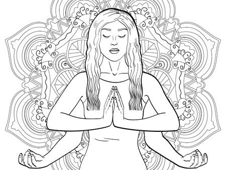 Lakshmi, una mujer de cuatro manos en el hinduismo. Pose en yoga. niños para colorear, líneas negras, fondo de arte trasero. Mandala de ilustración vectorial