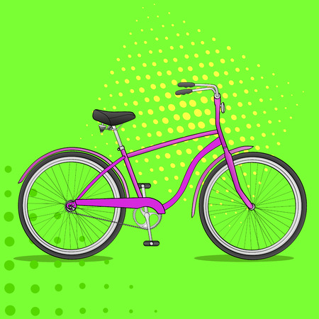 Pop art bike. The vehicle is pink. Comic book style imitation Imagens