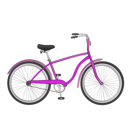Bike isolated object on white background. The vehicle is pink.