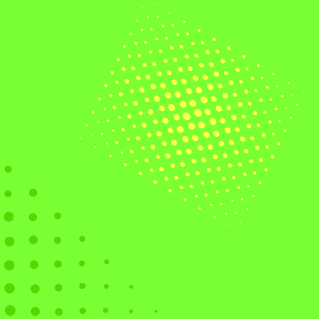 Bright green and yellow pop art retro background with halftone in comic style, illustration