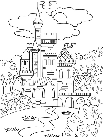 Childs colored picture Castle in the forest. The building is made of bricks in more often. Coloring for children. Black lines