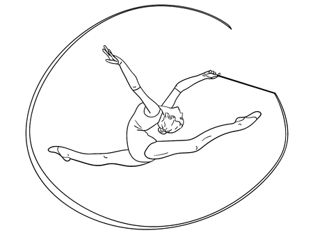 Object on white background rhythmic gymnastics, girl with a ribbon on twine. Coloring for children