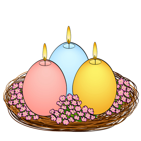 Isolated object on white background Easter candles in the shape of an egg. Three pieces of different colors with fire