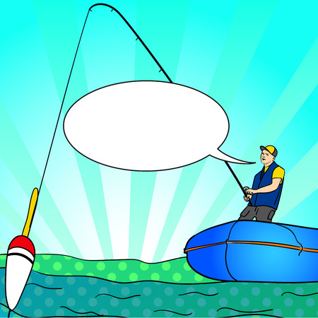 Pop art Angling person with rod in a boat on calm lake water silhouette. Text bubble. Fisher Image Comic book