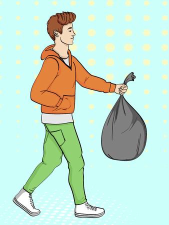 Pop art background, imitation of comics. The guy is carrying a bag of trash. Vector illustration Ilustração