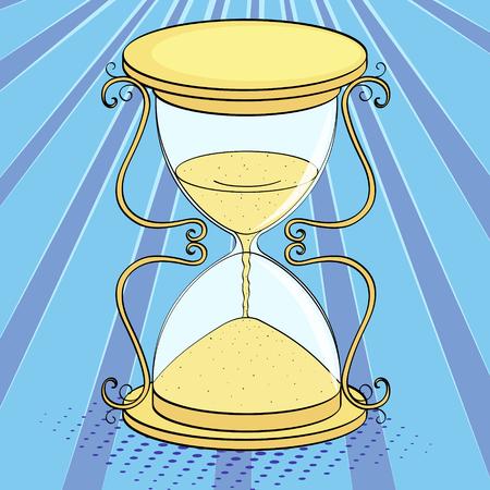 Pop art background, imitation of comics. Hourglass, time Vector illustration