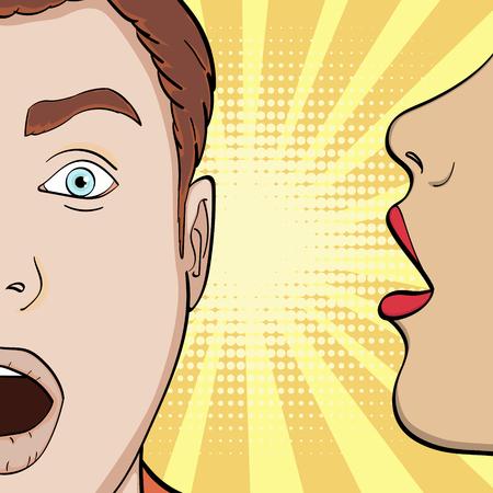 Popart achtergrond, imitatie van strips. Een meisje fluistert in zijn oor kerel, een man verleiden, een geheim. vector illustratie