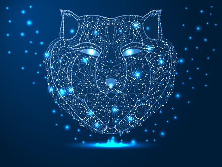 Head of a wolf, hunter, animal. Abstract vector polygonal illustration on dark blue background with stars with destruct shapes