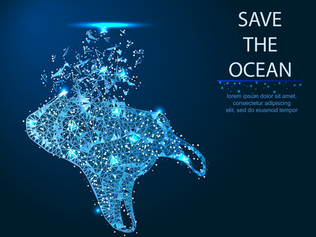 Ecology, environmental protection. Plastic in the ocean and the sea. Save nature from packages. Abstract polygonal illustration on dark blue background with stars with destruct shapes