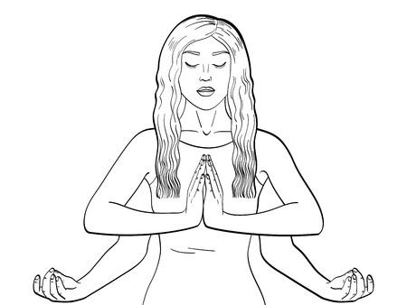 Lakshmi a woman with four hands in Hinduism. Pose in yoga. children coloring, black lines. Vector illustration Illusztráció