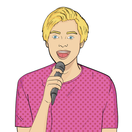 isolated object on white background The guy sings into the microphone in karaoke, showman, singer. Vector illustration text bubble