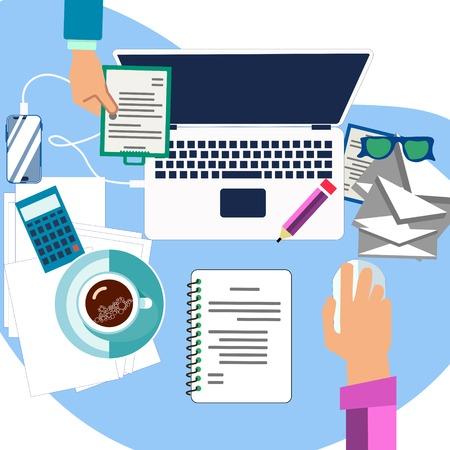Workflow in the office. Desktop in minimalist style. Cartoon Vector Illustration