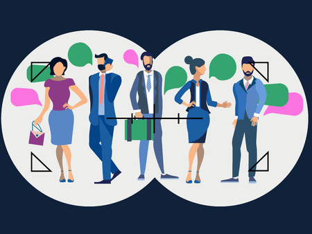 Metaphor of employee search in minimalist style. Cartoon Vector Illustration