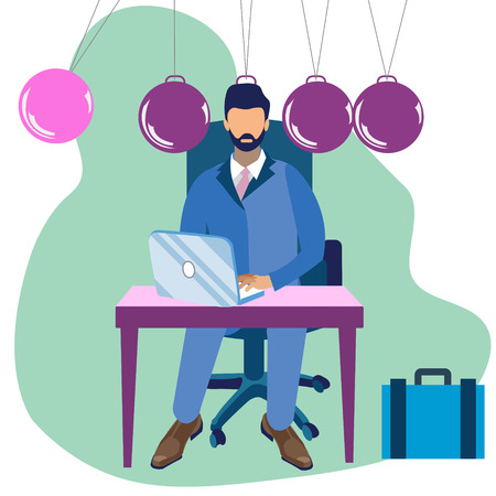 Metaphor of Newtons cradle in minimalist style. Businessman head replaces one ball Cartoon Vector Illustration