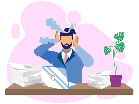 Metaphor of Entangled reworked at overwork. Male businessman, earned on the desktop. Boils head in minimalist style the best way. Cartoon Vector Illustration