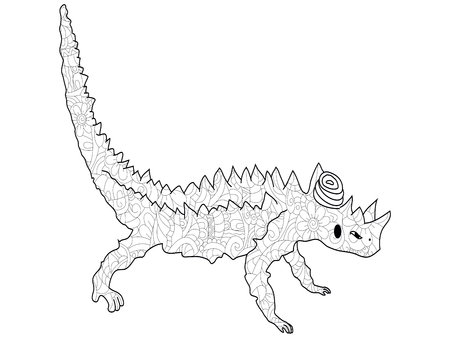 Adult antistress coloring lizard thorny devil or thorny dragon Moloch horridus pattern, astrakhan. Illustration of black lines Stock Photo