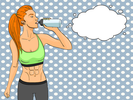 Sport girl jogging pop art text bubble. Comic book style imitation. In sports clothes with headphones and a player