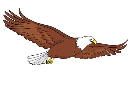 Bird eagle, falcon. Raster of an imitation retro comic style. isolated object on white background Reklamní fotografie