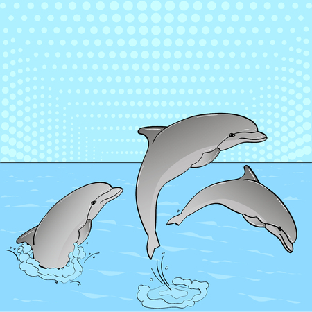 Pop Art. Raster of imitation retro comic style. Rest on the sea, three dolphins play in the water.