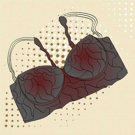 Pop art object of womens clothing brassiere, bra. fashion, style for the confident lady. Stock Photo
