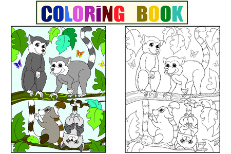 Childrens coloring book and color cartoon family of lemurs on nature. Banco de Imagens - 114936894