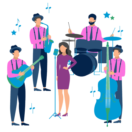 Flat Jazz music in minimalist style. The band performs on stage. Musical instruments. Cartoon vector Illustration