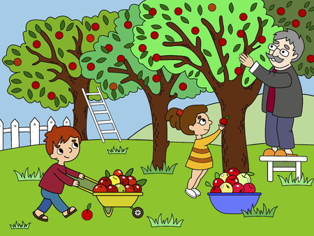 Kids cartoon on the theme of harvest vector