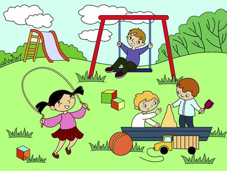 Childrens playground. Vector illustration of black and white. Children, sand, slides, ball, bird, dog, cat, game background house grass bush flower swing sword