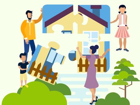 La famiglia raccoglie un puzzle, un simbolo di comfort familiare, focolare. Quattro parti della casa. Appartamento in stile minimalista. Fumetto illustrazione vettoriale