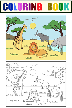 Children drawing. Animals of Africa, mainland mammals, zoo Vector illustration Color and black and white coloring.