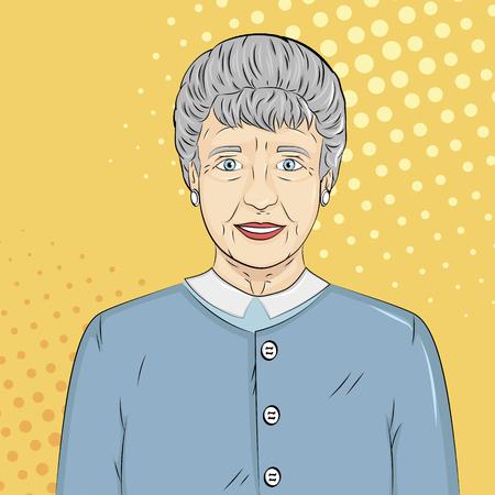 Pop art background. Old man, grandmother Vector illustration
