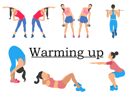 Stages warm up. Sport for health, clearly shows the girl. In minimalist style. Cartoon flat Vector Stock Vector - 118917933