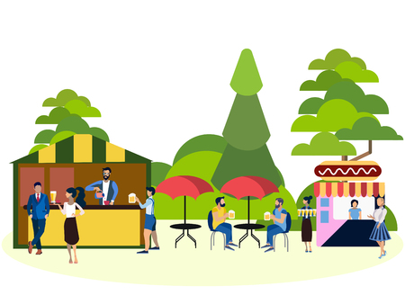 Recreation park, people and food area. In minimalist style. Cartoon flat Vector 矢量图像