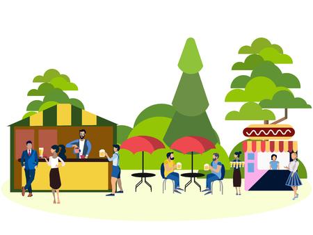 Recreation park, people and food area. In minimalist style. Cartoon flat Vector Illustration