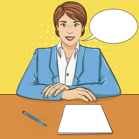 Pop art background. business woman, boss at the table, reception staff, job interview. Vector illustration text bubble