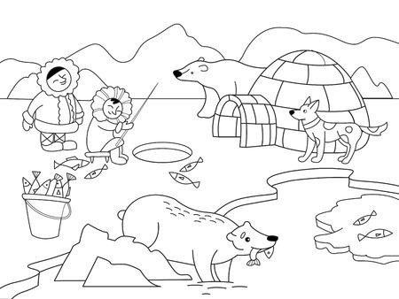 Ilustracja wektorowa bieguna północnego. Gra edukacyjna dla dzieci gra edukacyjna. Zwierzęta arktyczne Kolorystyka, czarno-biała kolorystyka.
