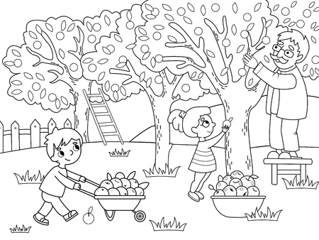 Kids cartoon on the theme of harvest vector illustration. Coloring drawing collection of apples in the garden in the village. Vetores