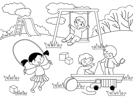 Childrens playground. Coloring and black and white coloring. Children, sand, slides, ball, bird, dog, cat, game background house grass bush flower swing sword